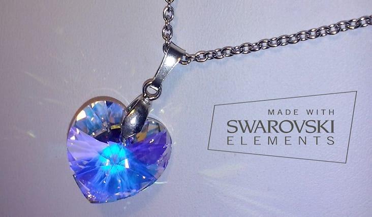 nuovo arrivo 8f2c0 b5956 Collana con cuore cristallo swarovski aurora boreale