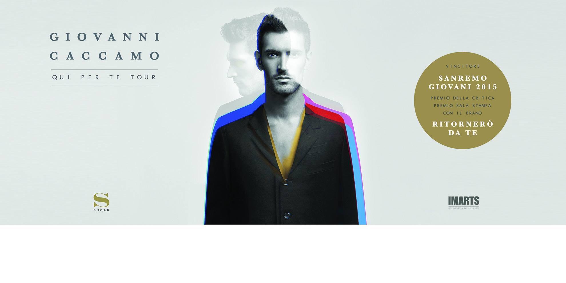 7 dicembre Aperitivo lirico, Cena e Dopo Cena Musicale con Concerto di Giovanni Caccamo, Vincitore di Sanremo Giovani 2015