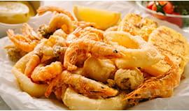 Lasagne e fritto di pesce
